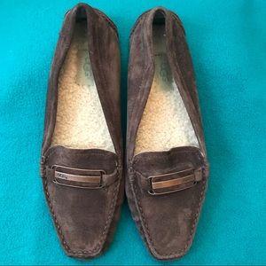 UGG Suede Loafers w Fleece Footbed Copper Buckle 9